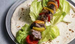 Eat Well For Less Pork Souvlaki in Flatbread with Tzatziki Recipe