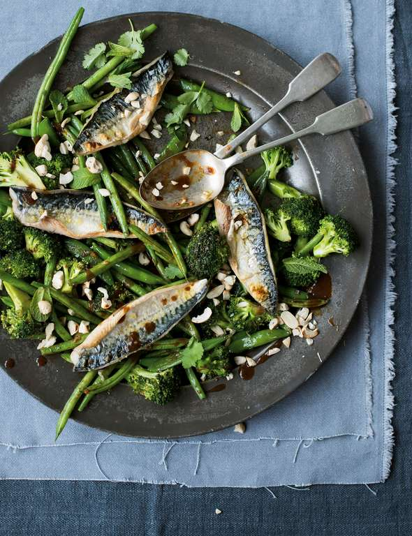Melissa Hemsley's Grilled Mackerel with Tamarind Ginger Greens