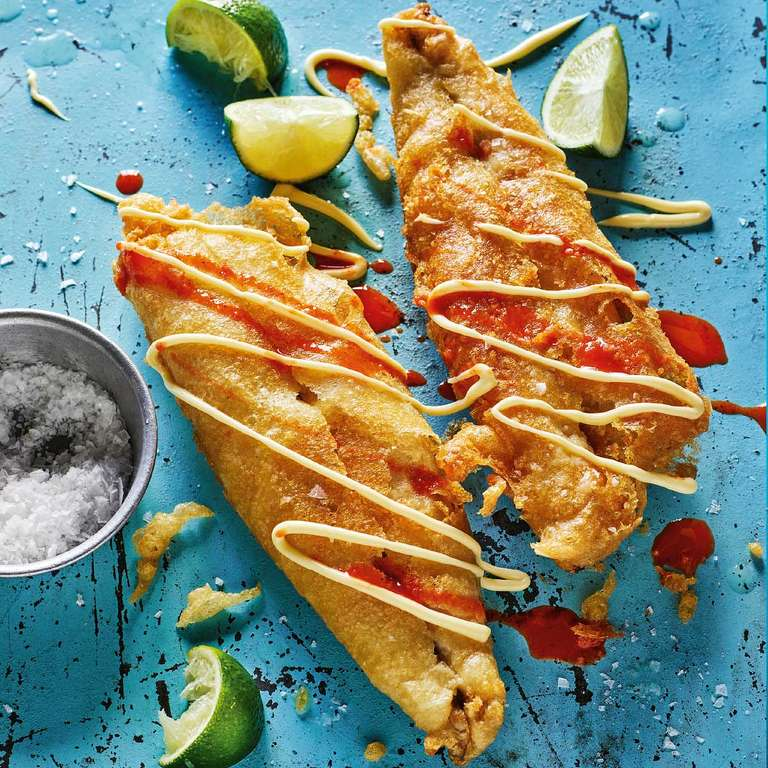 Rick Stein's Battered Mackerel with Mayo, Chilli Sauce and Lime (Pescado con Mayonesa, Limón y Salsa Picante)