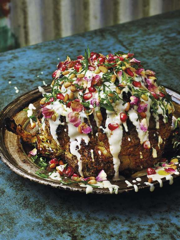 Cauliflower Shawarma with Pomegranate, Pine Nuts and Rose