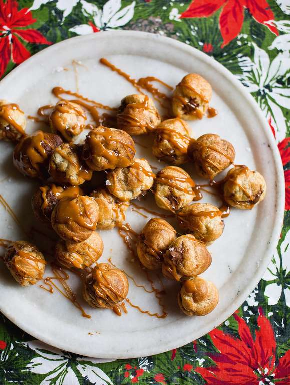 Salted Caramel and Chocolate Cream Profiteroles