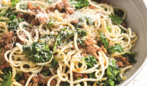 Gluten-free Broccoli and Sausage Parsnip Pasta