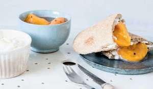 Spelt and Rosemary Pittas with Apricot Compote and Tahini Yogurt Recipe