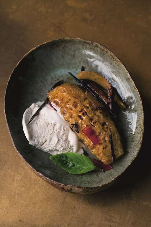Roasted Pineapple with Tamarind and Chilli, and Coconut Ice Cream