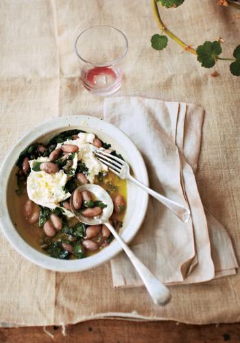 Mozzarella, Borlotti & Wild Garlic Green Sauce from Ducksoup Cookbook