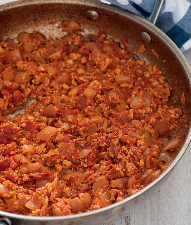 Tofu 'Ragu' with Tomato and Peppers
