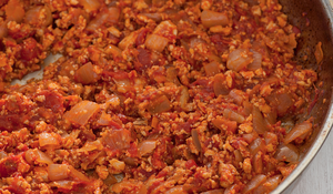 Tofu 'Ragu' with Tomato and Peppers