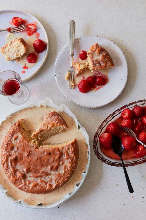 Tonka Bean Tres Leches Cake with Roasted Strawberries