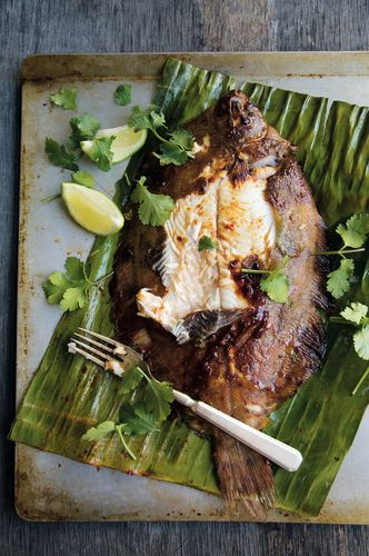 Barbecued Sambal Lemon Sole on Banana Leaves from Chicken and Rice