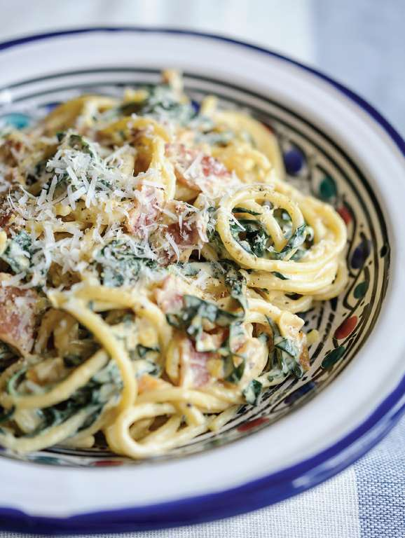 Pasta Carbonara with Cavolo Nero