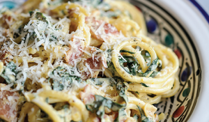 Pasta 'Carbonara' with Cavolo Nero