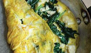 Omelette with Caerphilly & Wild Garlic