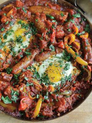 Tunisian-inspired Baked Eggs with Merguez Sausages |  Brunch Recipe