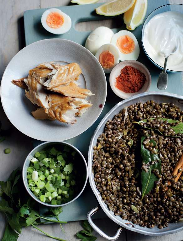 Lentil and Leek Kedgeree with Smoked Mackerel