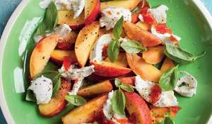 Peach and Mozzarella with Sweet Chilli and Tomato Glaze