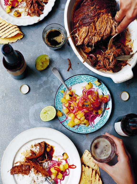 Adobo Brisket with Griddled Pineapple Salsa