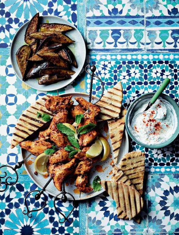 Ainsley Harriott's Harissa Lemon Chicken Skewers with Glazed Aubergines and Garlic-Mint Sauce