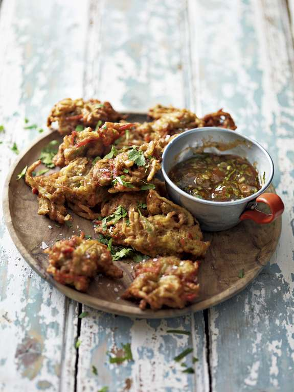 Ainsley Harriott's Okra Onion Bhaji with Hot Sauce Mango Chutney