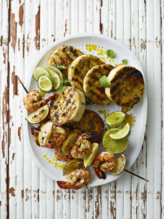 Ainsley Harriott's Griddled Yams with Garlic, Chilli and Mint Dressing