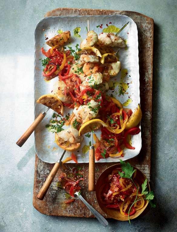 Ainsley Harriott's Seafood Skewers with Peperonata