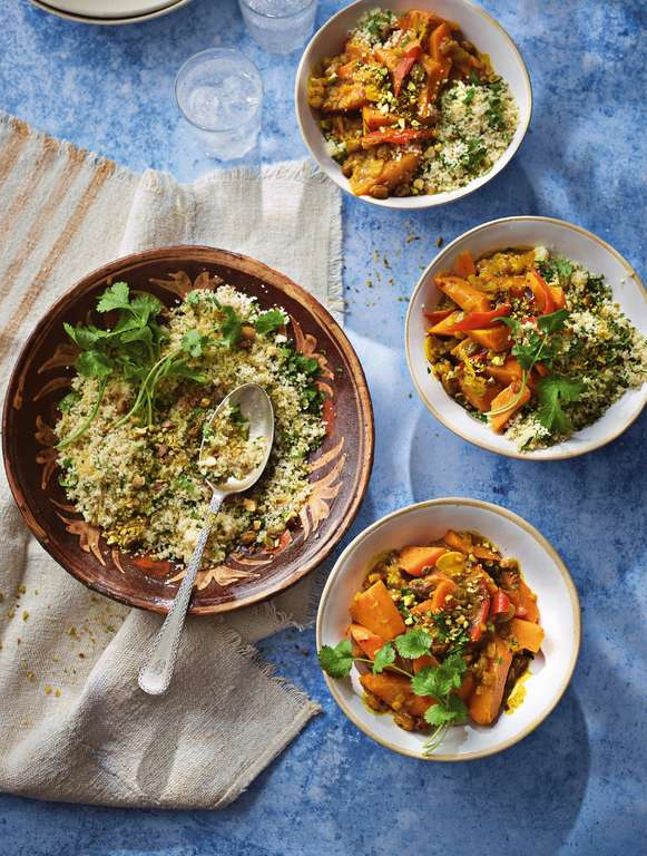 Ainsley Harriott's Squash and Sweet Potato Tagine with Lemon and Pistachio Couscous