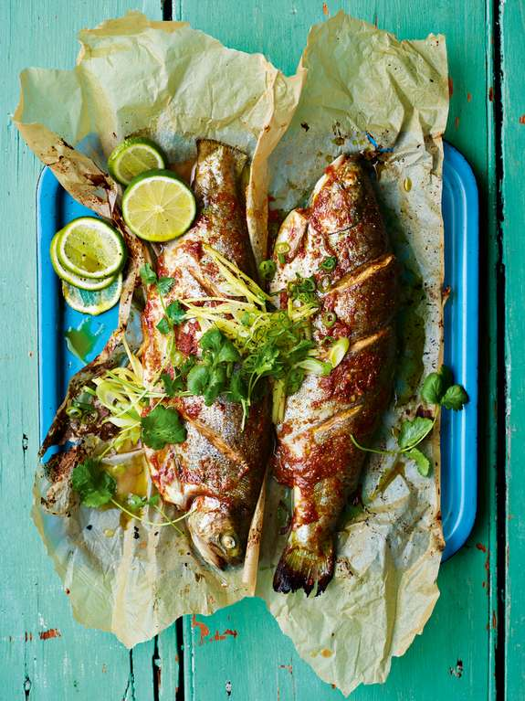 Ainsley Harriott's Tamarind Rainbow Trout with Ginger and Spring Onions