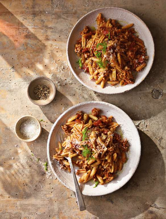Ainsley Harriott's Sardinian Pasta Shells with Sausage, Tomato, and Fennel Sauce