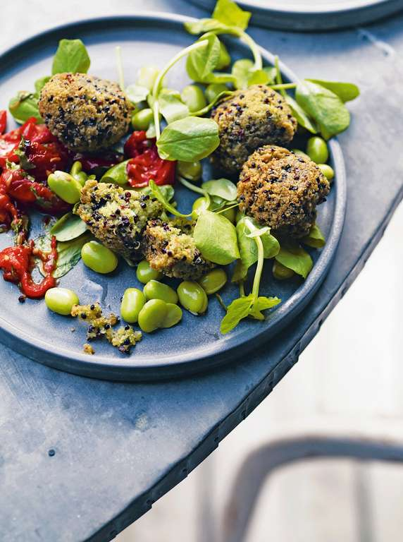 Quinoa and Broad Bean Falafel with Lemon