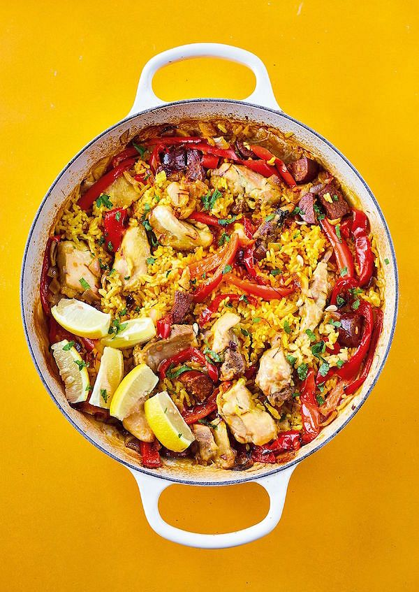 chicken stock recipes All-in-one Paella with Chicken, Peppers and Chorizo from The Roasting Tin Around The World by Rukmini Iyer