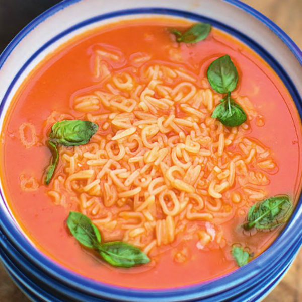 alphabet tomato soup fresh basil cheddar cheese the happy foodie