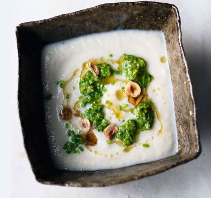 Jerusalem Artichoke Soup with Hazelnut and Spinach Pesto