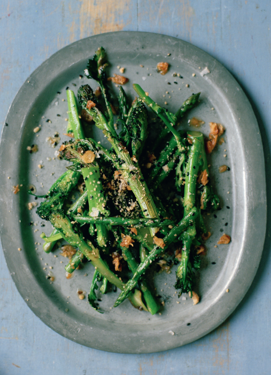 Asparagus and Sprouting Broccoli with Peanuts and Black Sesame Salt