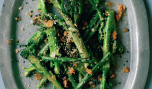 Asparagus and Sprouting Broccoli with Peanuts and Black Sesame Salt from The Vietnamese Market Cookbook