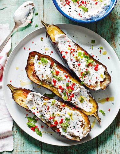 Roasted Aubergines with Fennel and Labneh