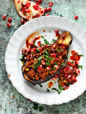 Split Stuffed Aubergines