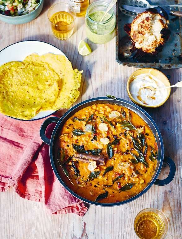 Aubergine Dal with Crispy Cauliflower, Green Chutney, Dosa and a Crunchy Salad