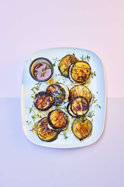 Aubergine and Goat's Cheese Burger Stacks with Honey and Thyme