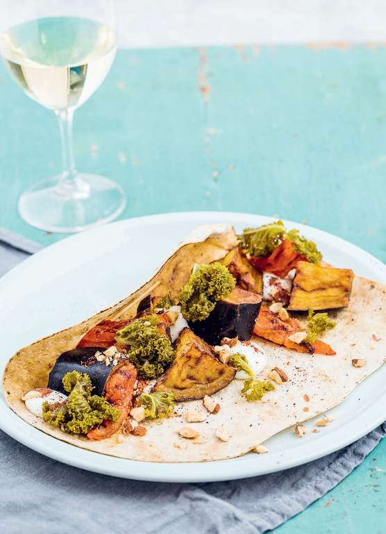 Aubergine Sabich with Pickled kale, Charred Tomatoes and Crispy Aubergine