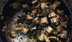 Stir-fried Aubergines Cooked in a Tamil Nadu Style (Kathirikai Poriyal)