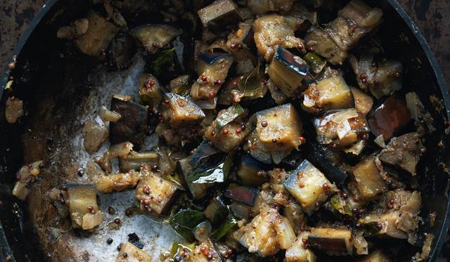 Stir-fried Aubergines Cooked in a Tamil Nadu Style (Kathirikai Poriyal)