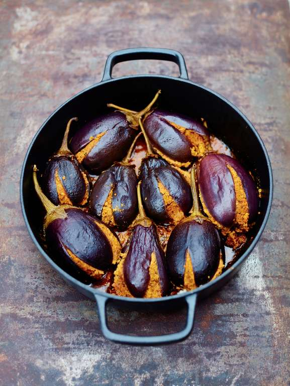 Baby Aubergines Stuffed with Peanut and Coconut