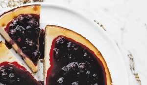 Vegan Baked Blueberry Cheesecake