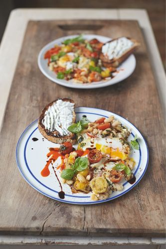 Baked Eggs in Popped Beans Cherry Tomatoes, Ricotta on Toast Jamie Oliver Everyday Super Food