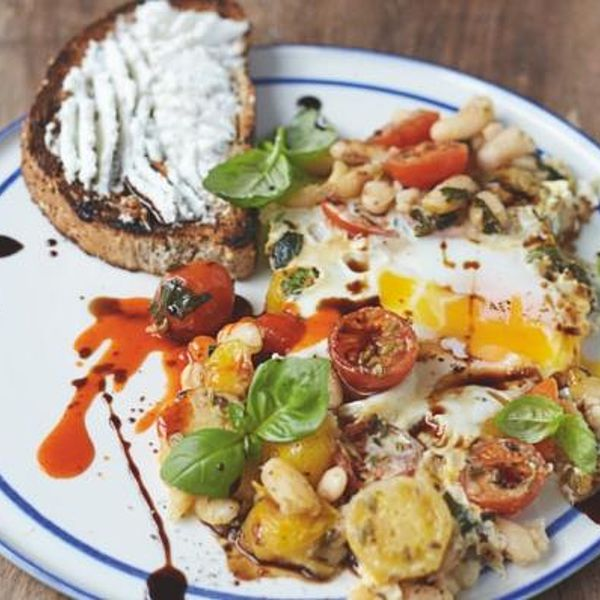 Baked eggs in popped beans cherry tomatoes ricotta on toast the baked eggs in popped beans with cherry tomatoes and ricotta on toast from jamie olivers everyday super food this healthy breakfast recipe is a great forumfinder Images