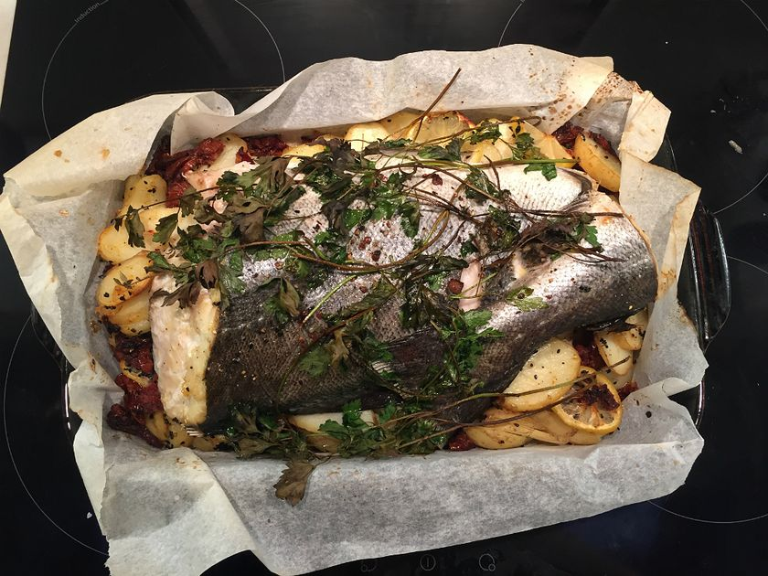 Baked Fish with Potatoes and Sun-Dried Tomatoes