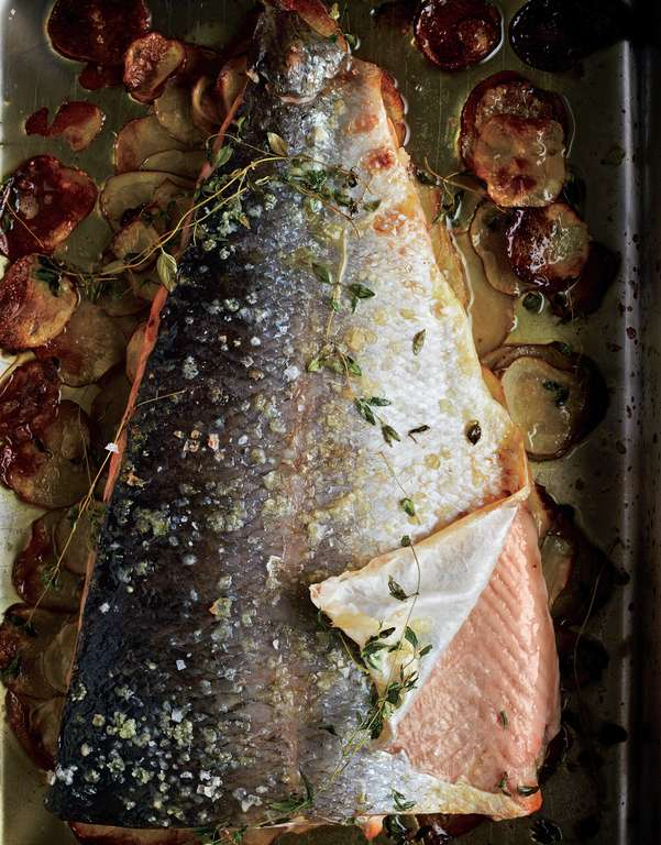 Baked Salmon with Thyme and Thin Potatoes