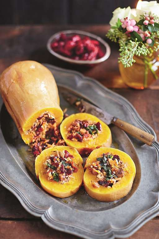 Baked Squash Stuffed with Nutty Cranberry-spiked Rice