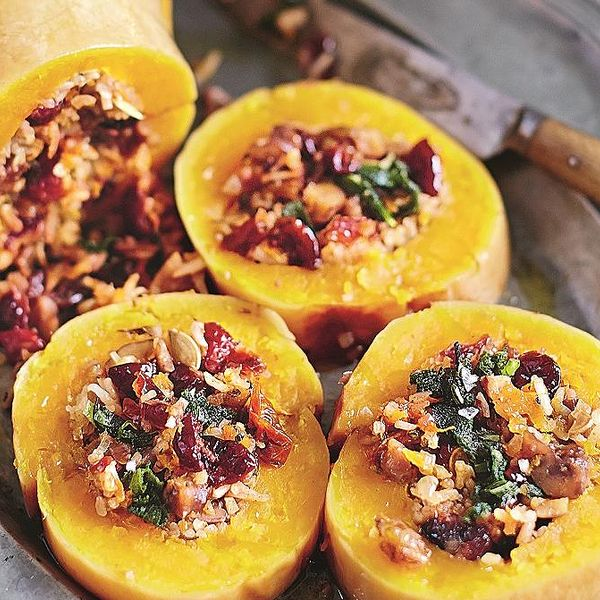 Baked Squash Stuffed with Nutty Cranberry-spiked Rice - The Happy ...