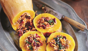 Jamie Oliver's Christmas Baked Squash Stuffed with Nutty Cranberry-spiked Rice