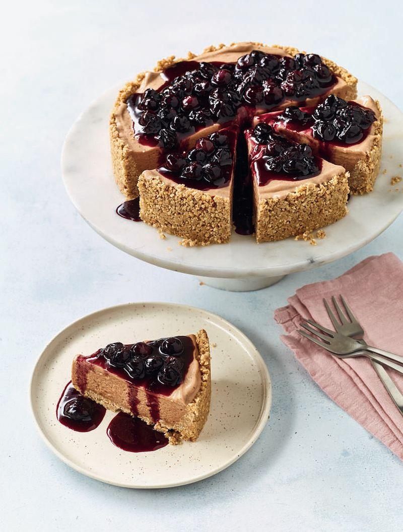 10 of best nadiya hussain desserts  Banana Ice Cream Cheesecake with Blueberry Compote nadiya bakes